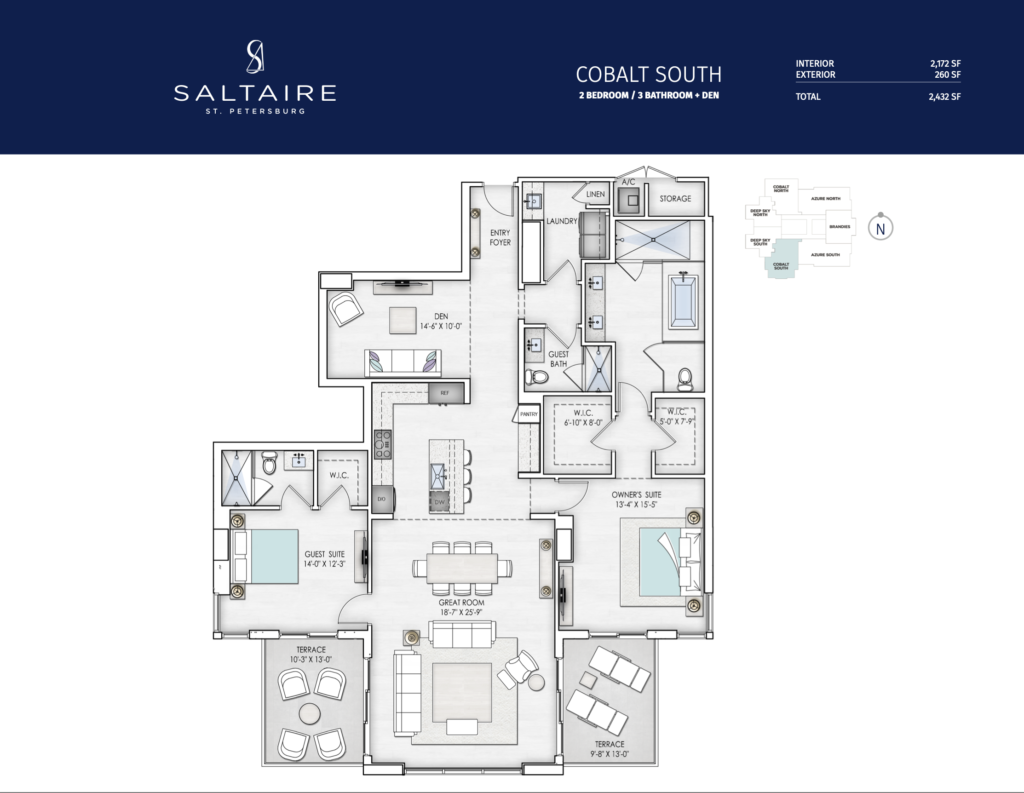 Saltaire Cobolt South Floor Plan The floorplan is black and white with a navy border