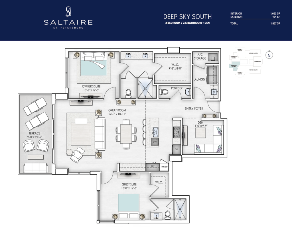 Saltaire Deep Sky South Floor Plan The floorplan is black and white with a navy border
