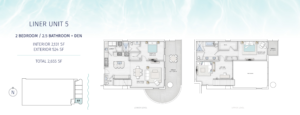 SaltAire Liner Unit 5 Floor Plan The floorplan is black and white with an aqua border