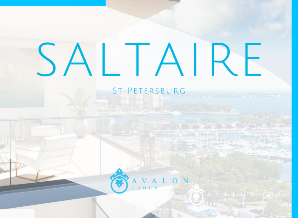 """The cover pic show a balcony rendering of Saltaire Luxury Condos. The building is white concrete and glass railing. The text says """"Saltaire St Petersburg Avalon Group"""