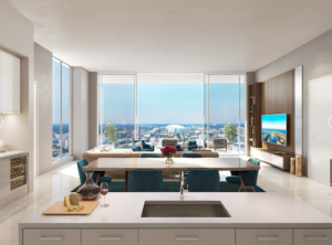 In addition to the lovely island sink in the foreground of the picture, there is a view through the living room with Mis Century Modern design elements. Through the windows you see the Tropicana Tampa Bay Rays Dome.
