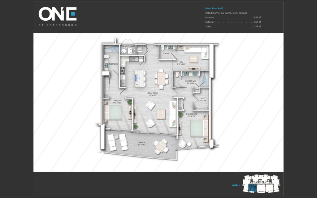 Additionally, ONE Floor Plan B-02 is a smaller floor plan with a view of Tampa Bay. The floor plan is computer generated and is printed in grayscale.