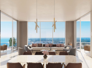 A pictures of the view looking south in the Saltaire luxury condo building. The decor is modern with neutral tones of color.