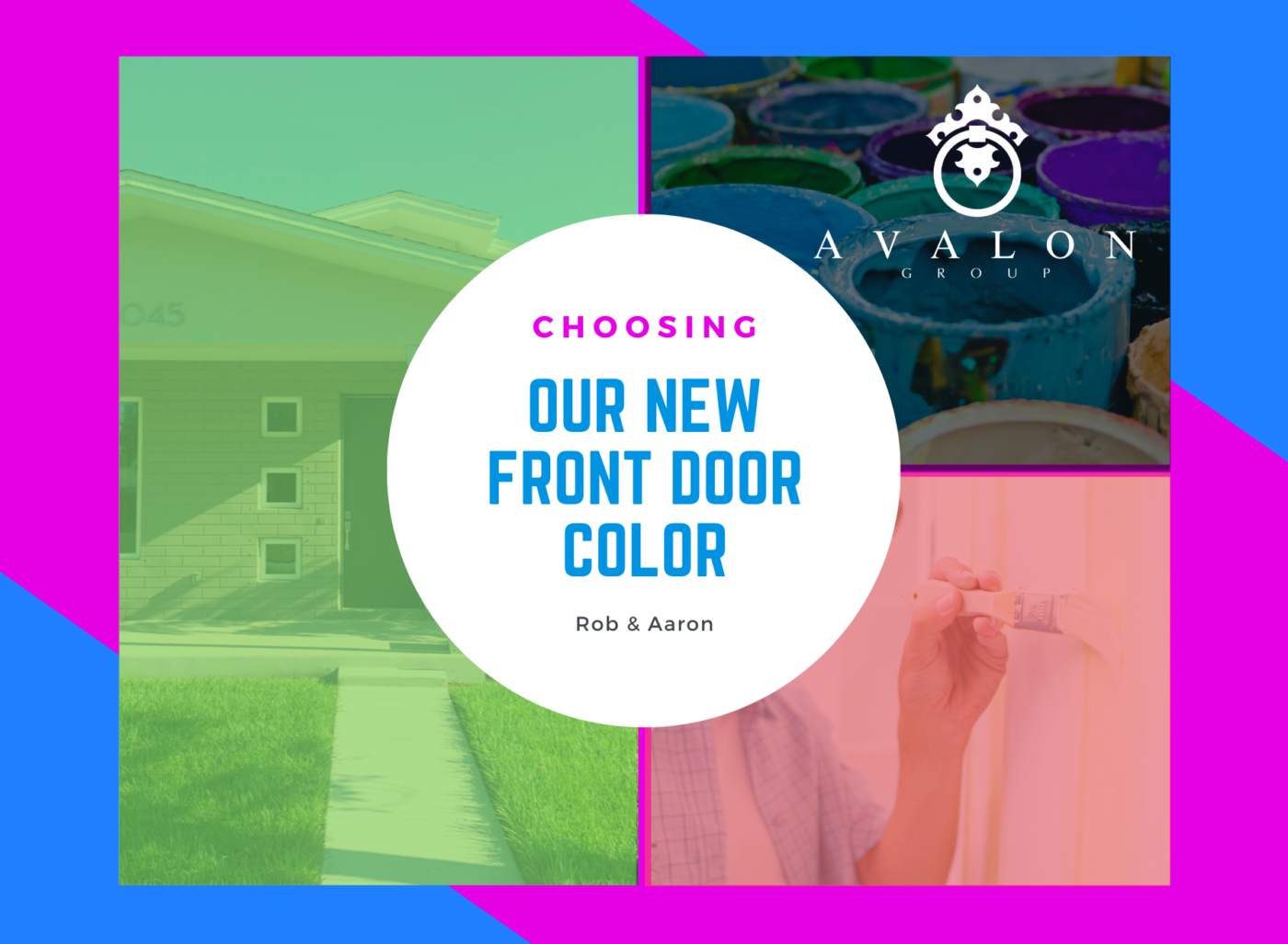 Therefore, Choosing A Top Florida Color For Our Front Door cover page has the title in the center circle. Surrounding the title circle are pictures. Furthermore, the pictures show our front door, a picture of open paint cans and a person painting a door.