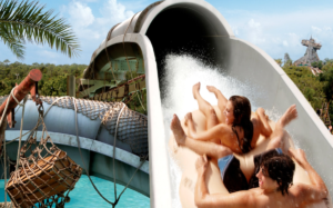 Additionally,Crush and Gusher at Typhoon Lagoon picture shows a man and woman on a tube going up one of the hills.