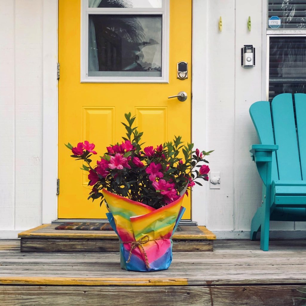 Additionally, here is Christi and Deb's front door.  It is yellow with white siding and a blue chair.