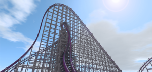 Inversions at top of hills is shown in the picture. The trusses are wood color and the track is purple