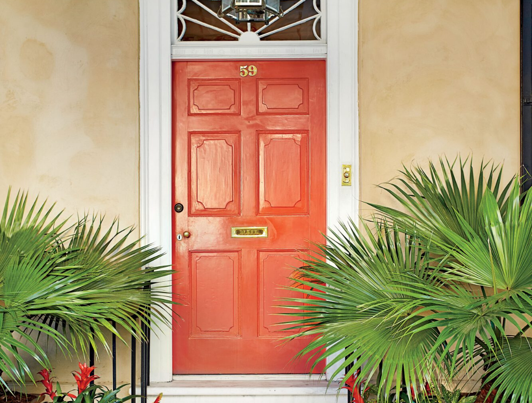 Number 7 on the Top 10 List isHot Orange (IB67); Ralph Lauren Paints. Also , the orange door is surrounded by white trim, peach siding and palm trees.