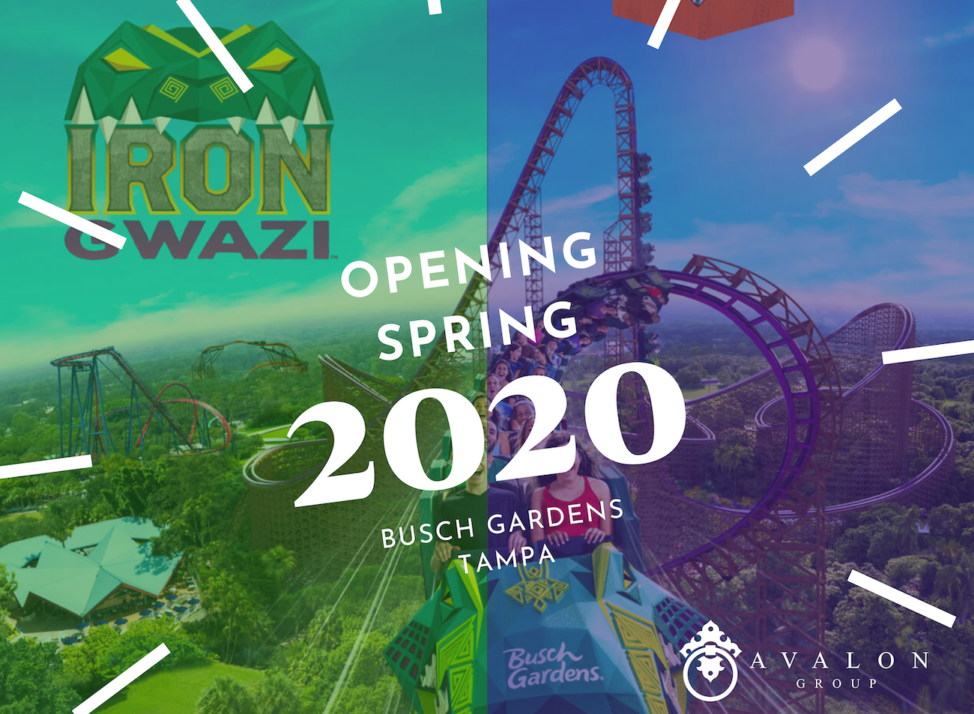 "Iron Gwazi Cover pic that says ""Opening Spring 2020 Busch Gardens Tampa. There is an artists rendering of the new roller coaster that is green lime and purple."