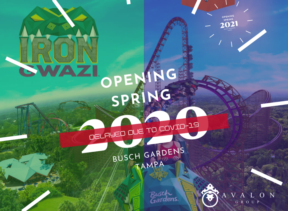 """Iron Gwazi Cover pic that says """"Opening Spring 2020 Delayed Busch Gardens Tampa. Additionally, there is an artists rendering of the new roller coaster that is green lime and purple. Also in the background it shows the opening has been delayed until 2021."""