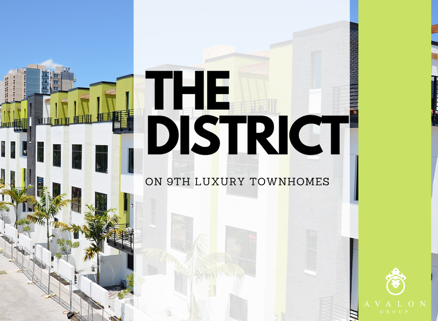 "The cover photo for the blog ""The District on 9th Luxury Townhomes in St Petersburg Fl"" The townhomes are modern clean architecture painted white and neon green. The window trim is black and there is a roof deck on the top floors."