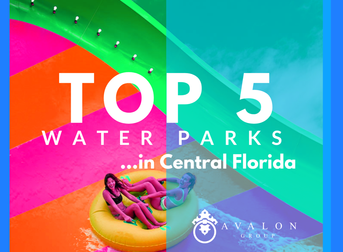Also this is the cover picture for the article on the Top 5 Water parks in Central Florida. This text overlays the photo. Moreover, the photo has been tinted with neon colors. There are two girls in a raft on a water slide and their skin is purple.