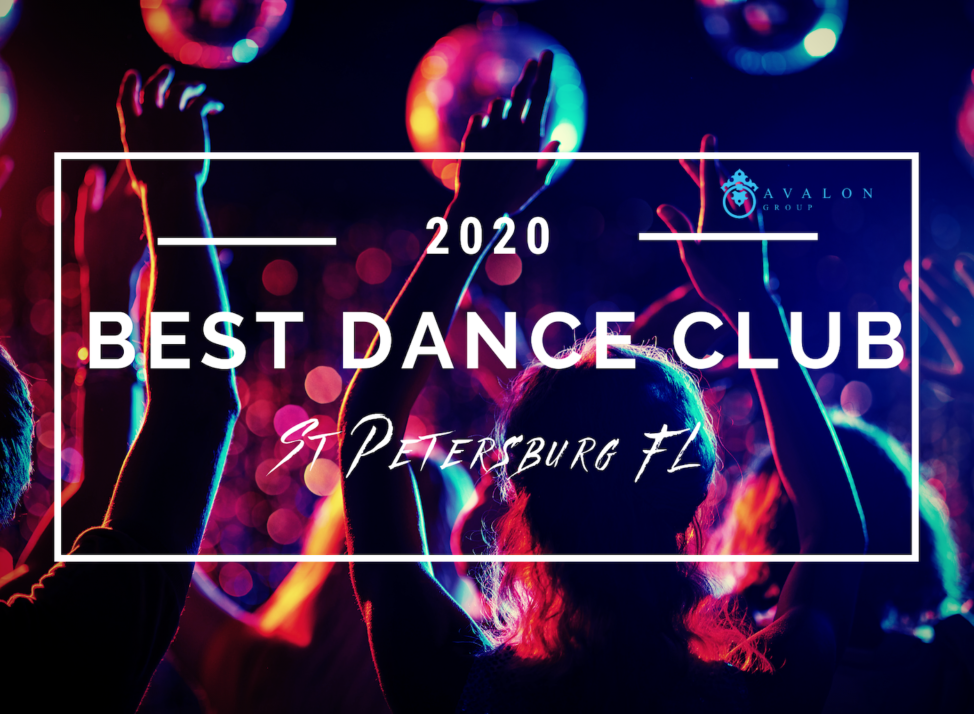 Cover photo for the blog about the Best Dance Club in St Petersburg FL. The picture has black shadows of people dancing with highlights in red and blue.