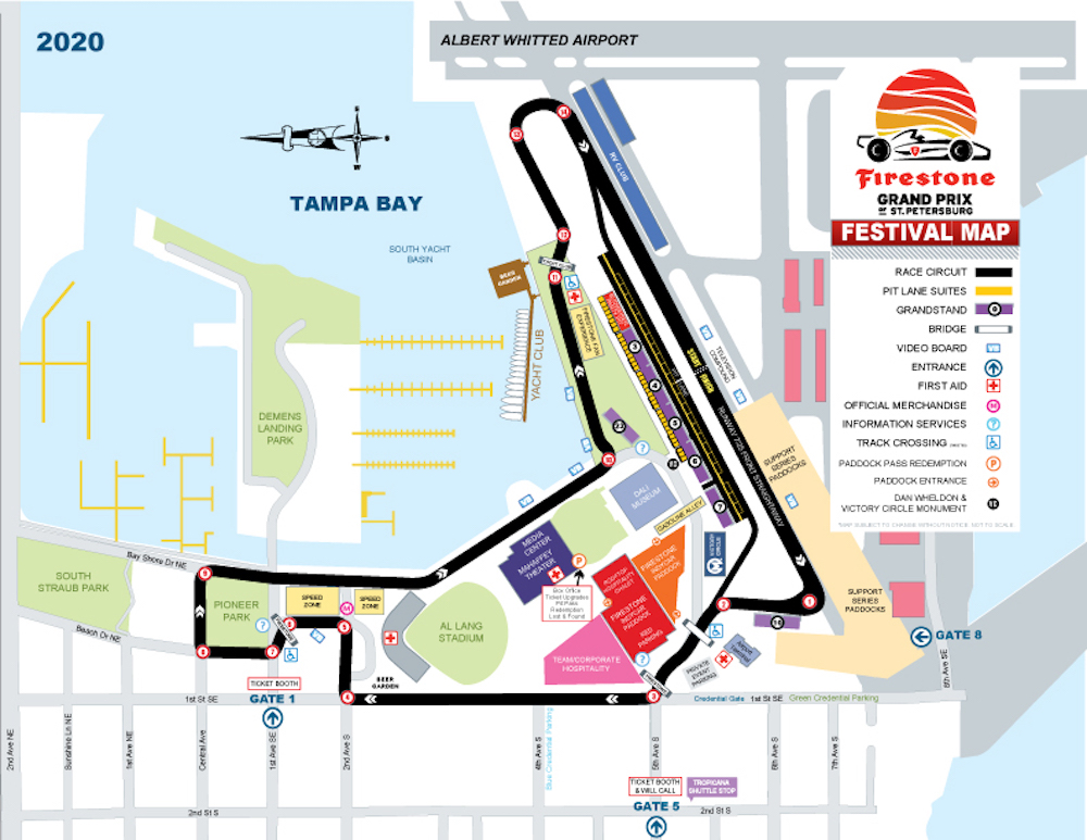 Also, the 2020 Grand Prix St Petersburg Map is colorful with reds, blues, pink and green colors.