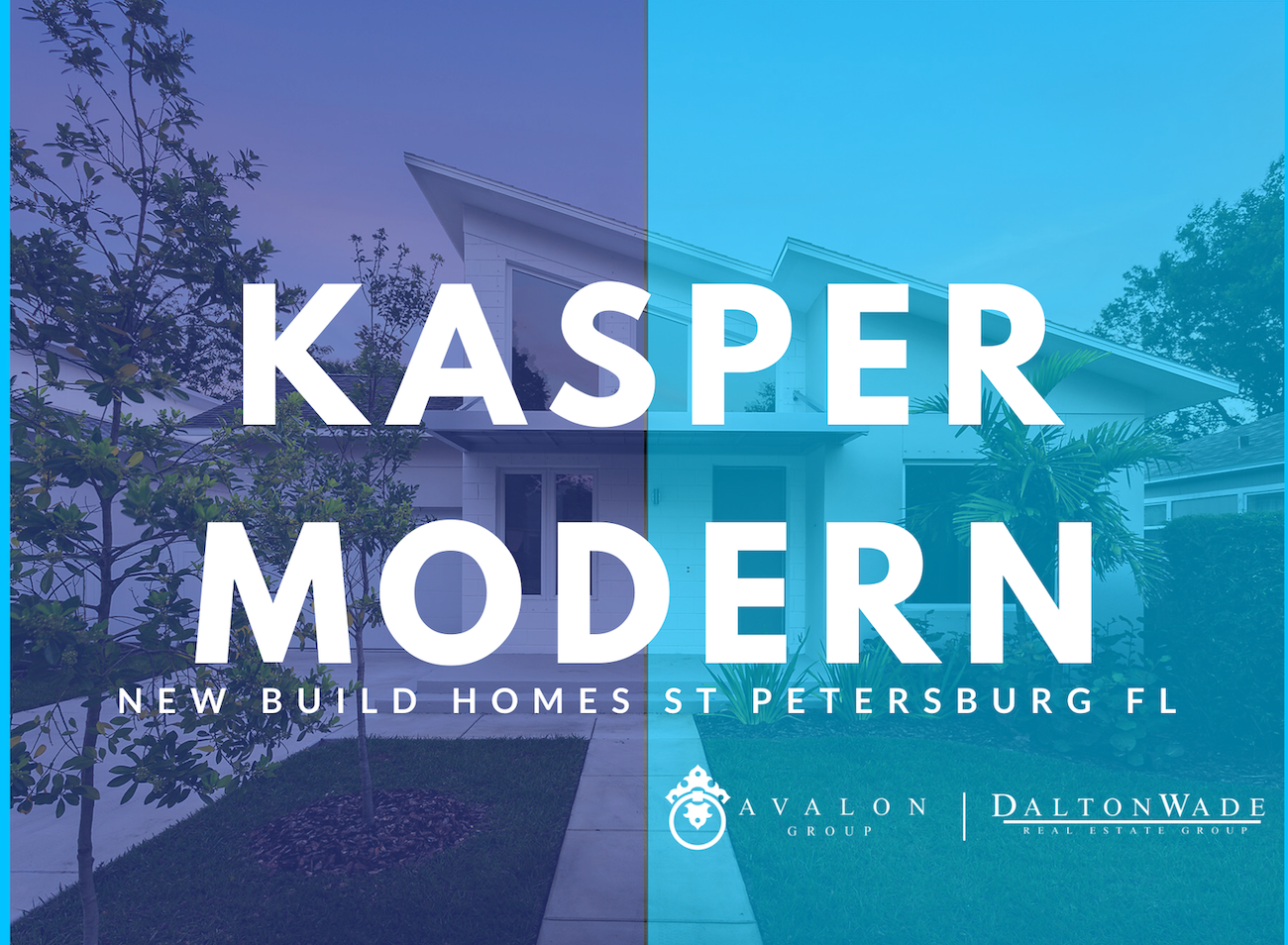 "Also this picture features the title of the blog ""Kasper Modern New Build Homes St Petersburg FL Avalon Group. There is a background picture of a white mid century modern home."