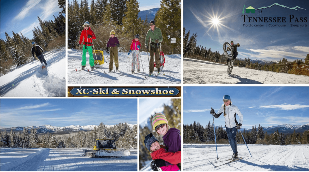 Photo collage of skiers, a biker, and a snow cat out on the trails on a sunny day
