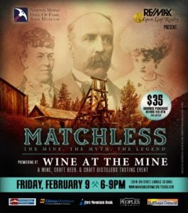 Poster for Wine at the Mine event showing a mustached man and two women