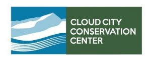 "Logo with blue and white mountain icon on the left and the words ""Cloud City Conservation Center"" on the right"