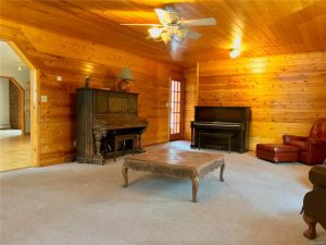 Carpeted living area with wood walls and old pianos