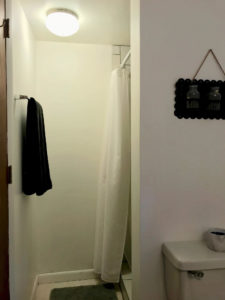 View showing shower area with black towel and black picture hanging on white walls