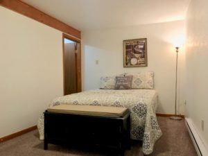Carpeted bedroom with closet, floor lamp, and full-size bed