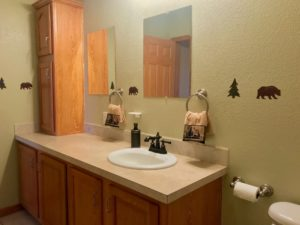 Bathroom vanity with single sink and mirror, tons of cupboards space to the side and underneath. Walls are a light olive green color