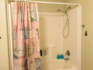 White bathtub and shower with removable metal showerhead; shower curtain's pink