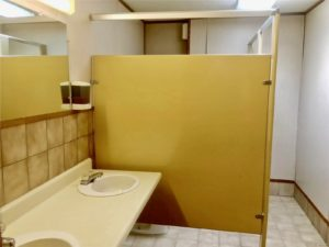 Photo of bathroom with tan stalls, white walls, and brown tile behind the double oval sinks